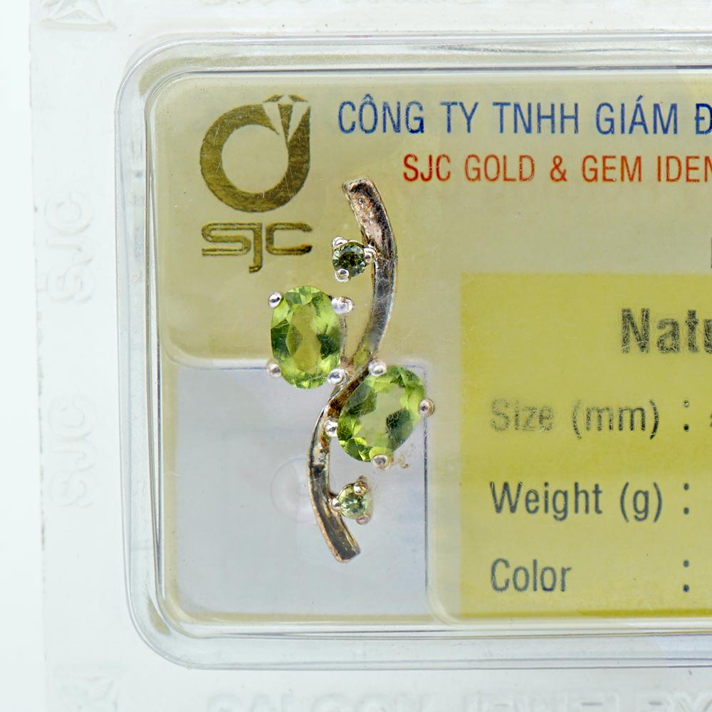 Mặt dây chuyền bạc 925 đính đá Peridot Ngọc Olivin tự nhiên 24973