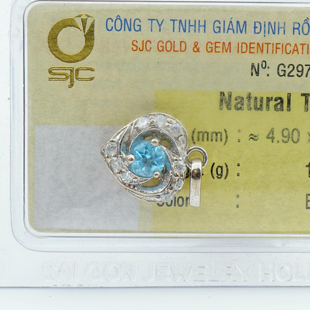 Dây chuyền bạc S925 đính đá Topaz xanh Hoàng Ngọc tự nhiên kiểm định 29711
