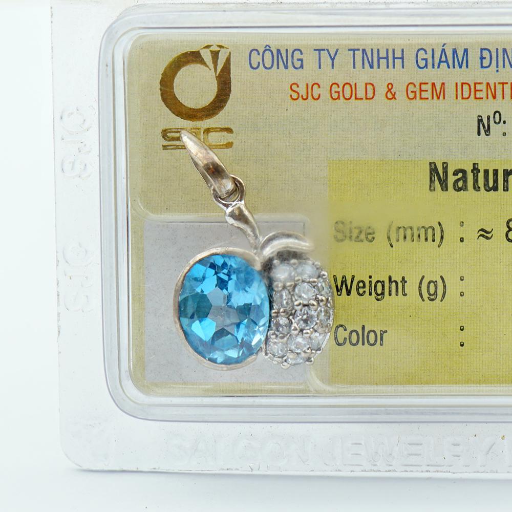 Dây chuyền bạc S925 đính đá Topaz xanh Hoàng Ngọc tự nhiên kiểm định 29715