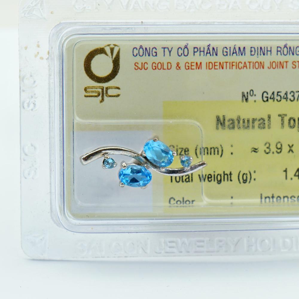 Dây chuyền bạc S925 đính đá Topaz xanh Hoàng Ngọc tự nhiên kiểm định 45437