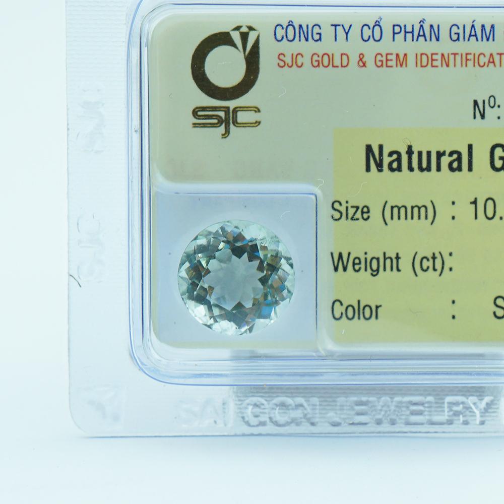 Mặt Đá Thạch Anh Xanh Tự Nhiên Kiểm Định Mài Giác Tròn 10mm 67592