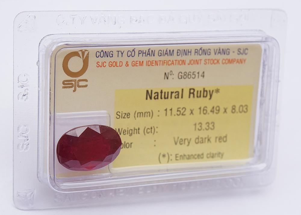 Mặt Đá Quý Ruby Tự Nhiên Mài Giác Oval 11*16 Li 86514