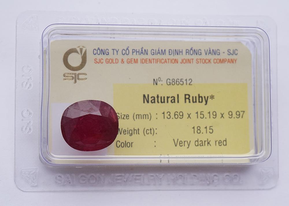 Mặt Đá Quý Ruby Tự Nhiên Mài Giác Oval 13*15 Li 86512