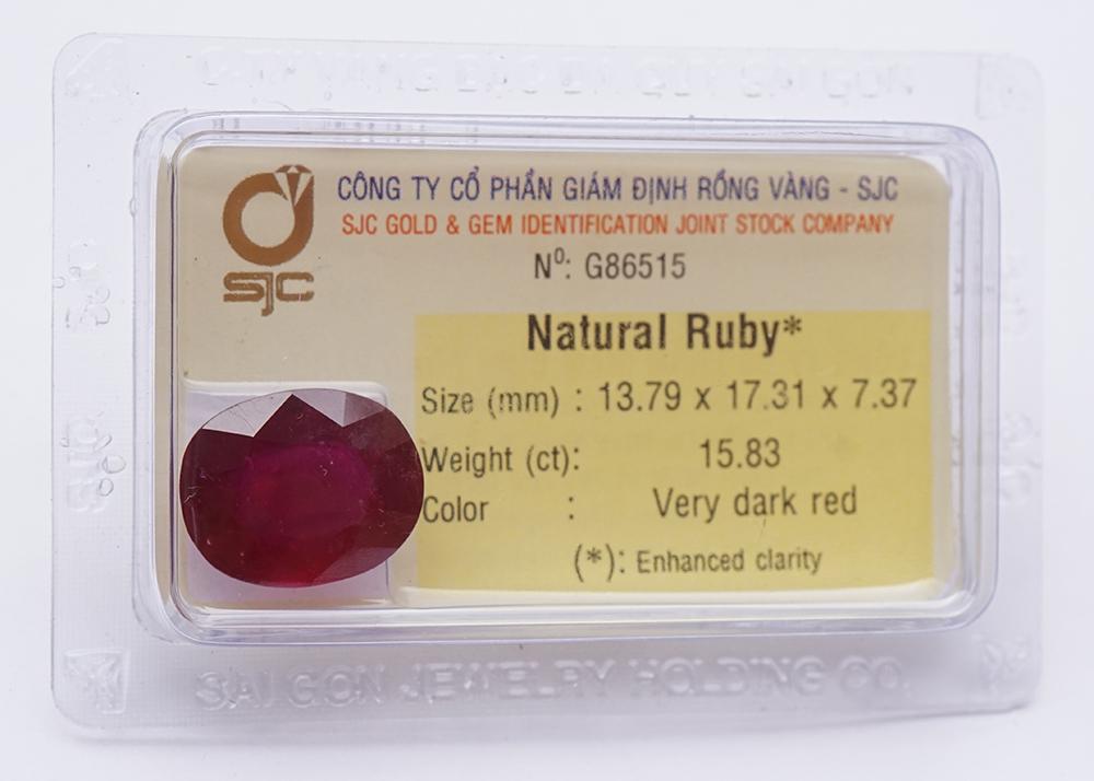 Mặt Đá Quý Ruby Tự Nhiên Mài Giác Oval 11*15 Li 86516