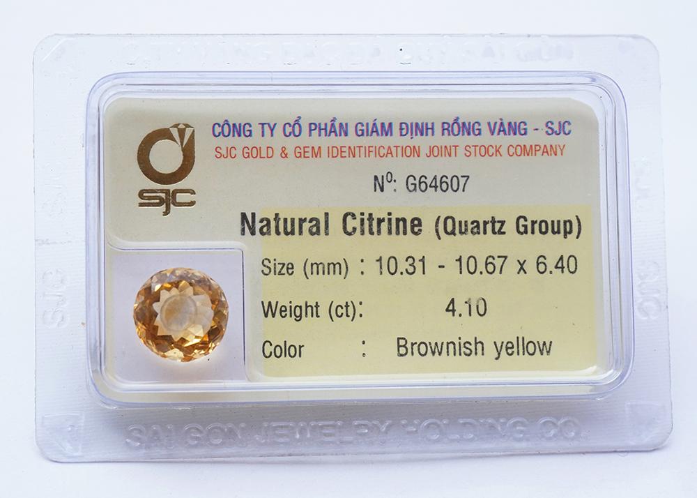 Mặt đá thạch anh vàng citrine kiểm định tự nhiên mài giác tròn 8*8 Li 64607