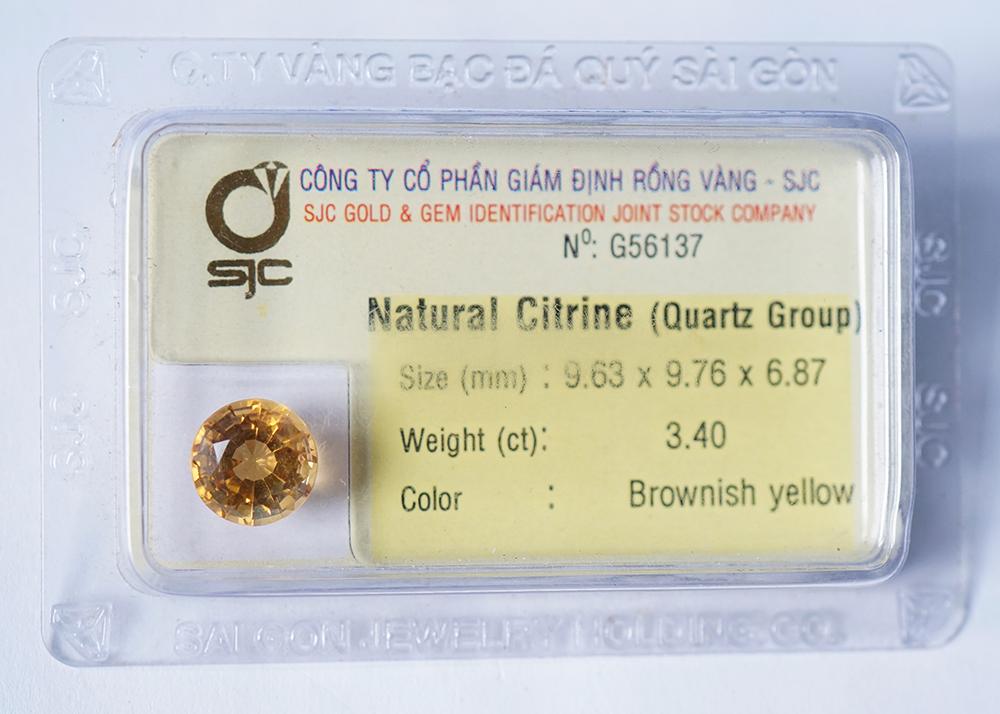 Mặt đá thạch anh vàng citrine kiểm định tự nhiên mài giác tròn 10 Li 56137