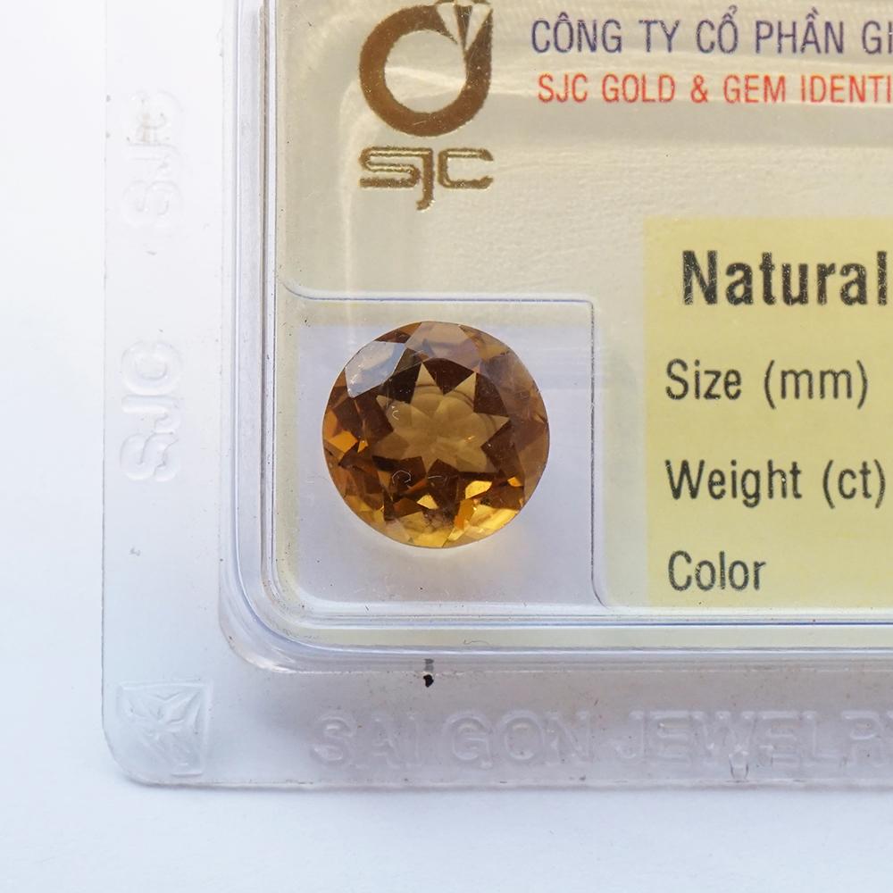 Mặt đá thạch anh vàng citrine kiểm định tự nhiên mài giác tròn 8*8 Li 47664