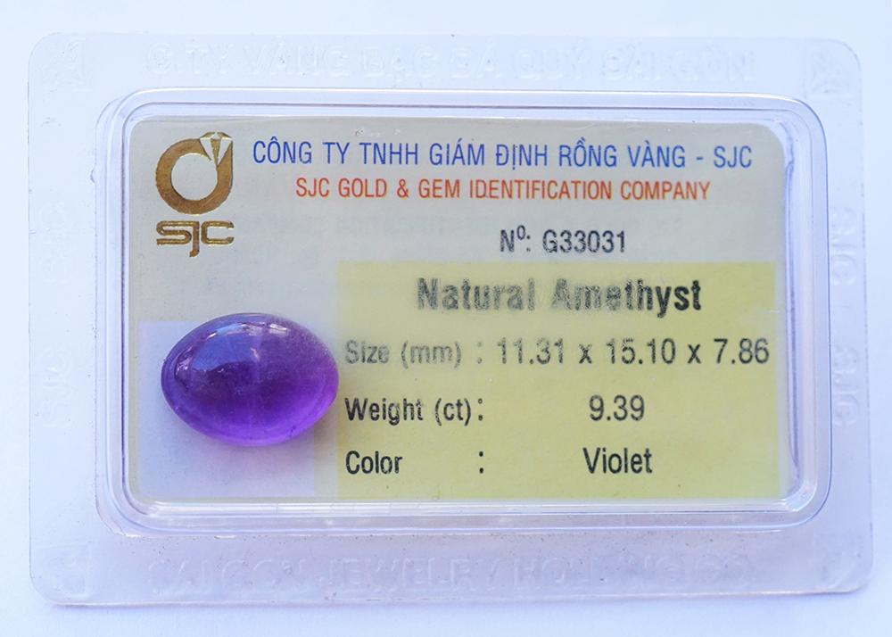 Mặt đá thạch anh tím Amethyst tự nhiên mài trơn oval 11×15 li 33031