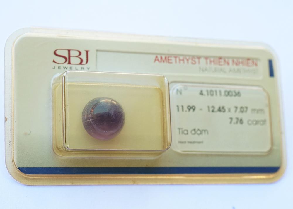 Mặt đá thạch anh tím Amethyst tự nhiên mài trơn oval 7×9 li 44555