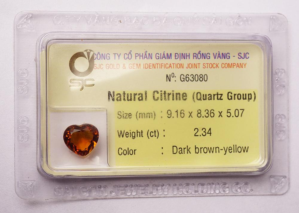 Mặt đá thạch anh vàng citrine kiểm định tự nhiên mài giác trái tim 8mm 63080
